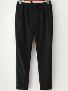 Black Drawstring Waist Casual Pant