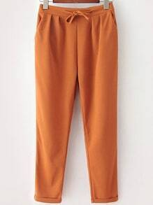 Dark Orange Drawstring Waist Casual Pant