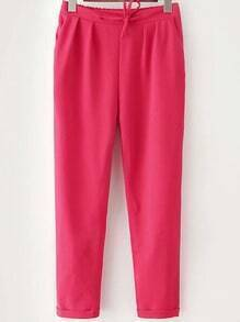 Red Drawstring Waist Casual Pant