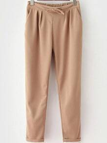 Khaki Drawstring Waist Casual Pant