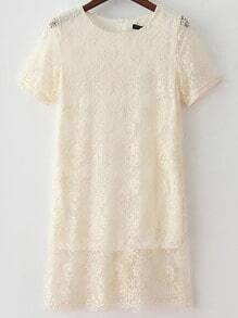 Apricot Round Neck Short Sleeve Lace Dress