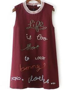 Red Sleeveless Bead Letters Embroidered Dress
