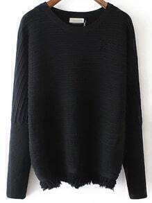 Black Round Neck Striped Tassel Sweater