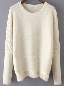 Beige Round Neck Striped Tassel Sweater