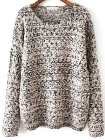 Grey Round Neck Mohair Loose Sweater