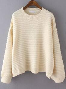 Apricot Round Neck Striped Casual Sweater