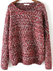 Red Round Neck Mohair Loose Sweater