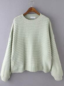 Green Round Neck Striped Casual Sweater