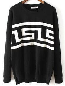 Black Round Neck Geometric Print Sweater