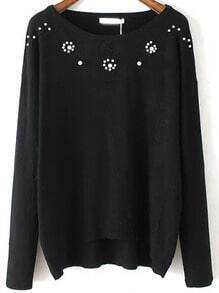 Black Round Neck Bead Embroidered Knitwear