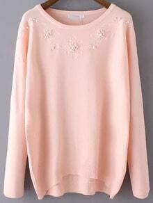 Pink Round Neck Bead Embroidered Knitwear