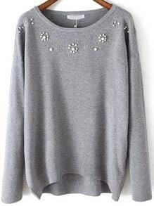 Grey Round Neck Bead Embroidered Knitwear
