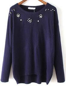 Navy Round Neck Bead Embroidered Knitwear