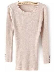 Pink Round Neck Buttons Slim Knitwear