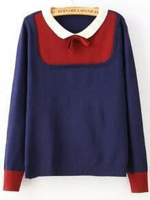 Navy Contrast Collar Bow Embellished Sweater