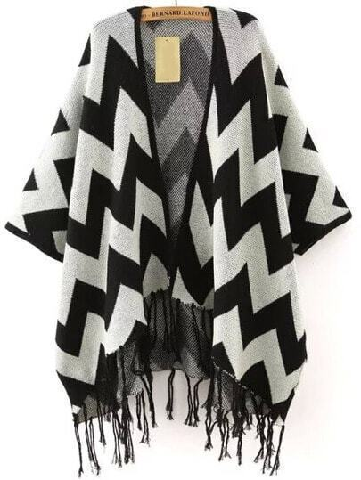 Black Grey Zigzag Print Tassel Cardigan