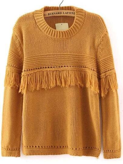 Khaki Round Neck Tassel Knit Sweater