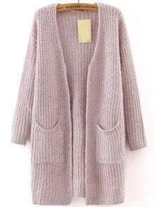 Purple Long Sleeve Pockets Knit Cardigan