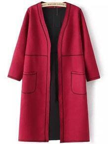 Red Long Sleeve Pockets Quilted Quilting Casual Coat