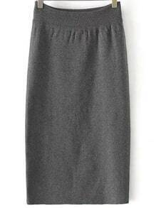 Grey Slim Bodycon Sweater Skirt