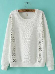 White Round Neck Diamond Patterned Bead Sweatshirt