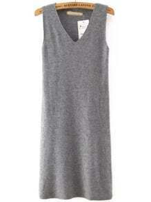 Grey V Neck Sleeveless Slim Tank Dress