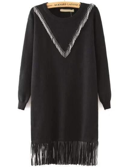 robe d contract avec franges noir french shein sheinside. Black Bedroom Furniture Sets. Home Design Ideas