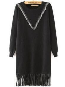 Black Round Neck V Tassel Loose Dress