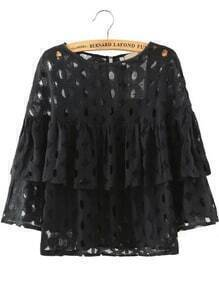 Black Round Neck Hollow Ruffle Blouse