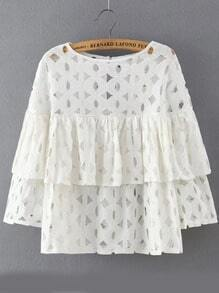 White Round Neck Hollow Ruffle Blouse