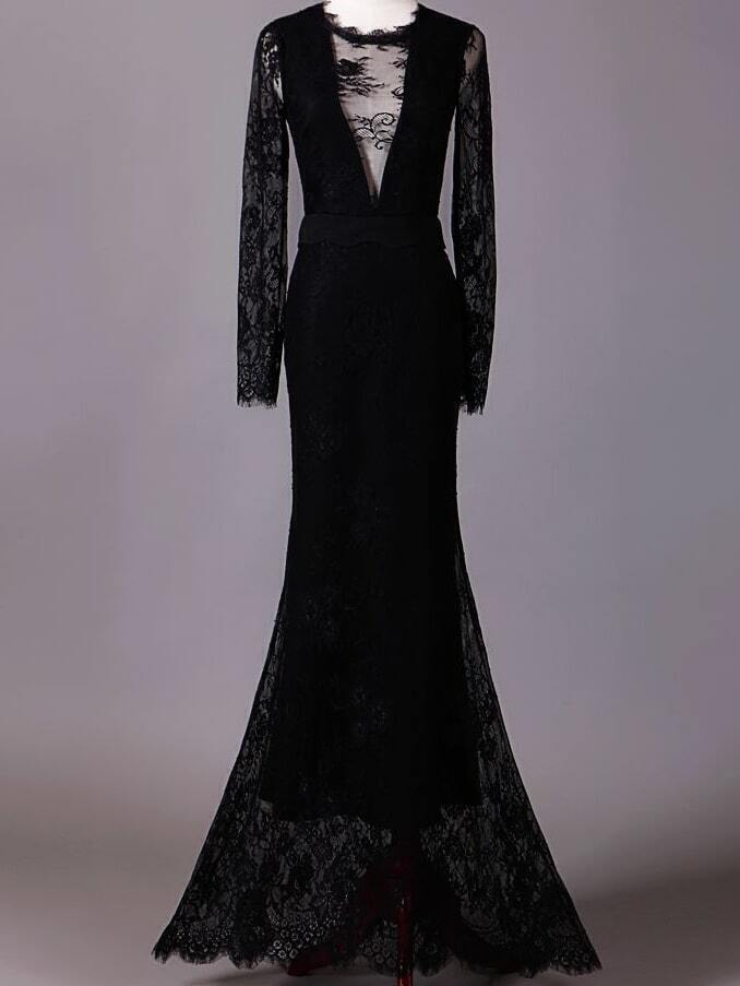 Black Round Neck Long Sleeve Maxi Lace Dress