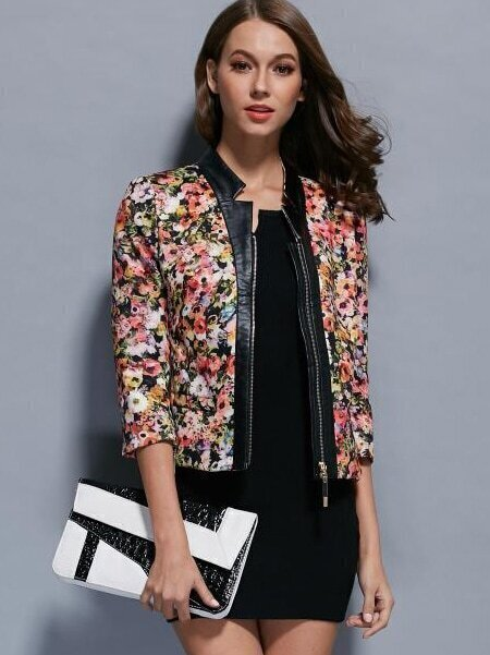 Multicolor Round Neck Length Sleeve Coat