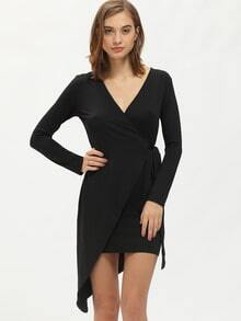 Black Long Sleeve V Neck Asymmetric Dress