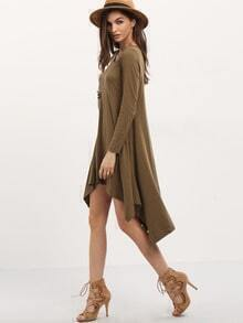 Army Green Long Sleeve Asymmetric Dress