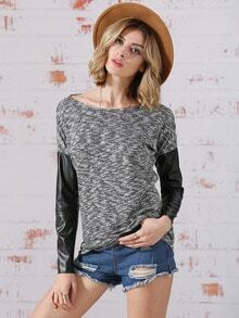 Grey Round Neck Quilting Pane Colourblock Color Block T-Shirt