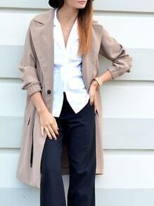 Nude Lapel Pockets Coat