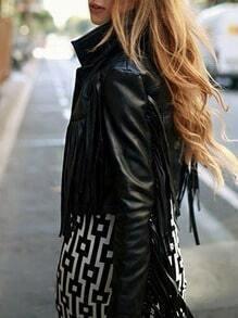 Black Long Sleeve Lapel Tassel Jackets