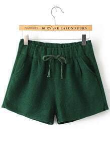Green Drawstring Waist Woolen Shorts