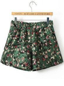 Green Elastic Waist Floral Shorts