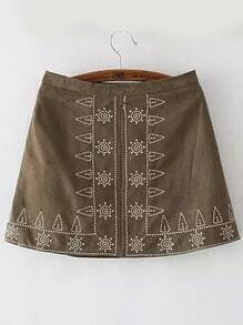 Army Green Tribal Embroidered Skirt