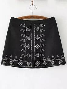 Black Tribal Embroidered Skirt