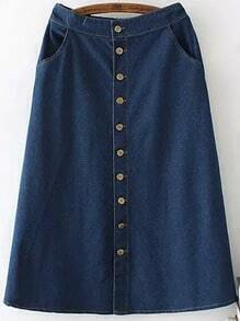 Navy Elastic Waist Buttons Denim Skirt