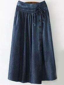 Navy Drawstring Buttons Denim Skirt