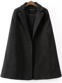 Black Lapel Covered Button Cape Coat