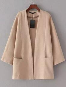 Apricot Long Sleeve Pockets Casual Coat