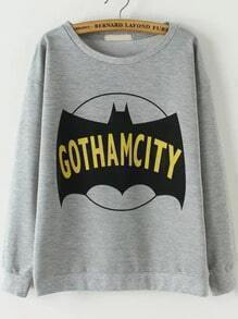 Grey Round Neck Bat Print Loose Sweatshirt