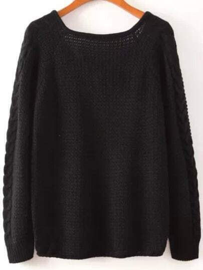 Black V Neck Cable Knit Casual Sweater