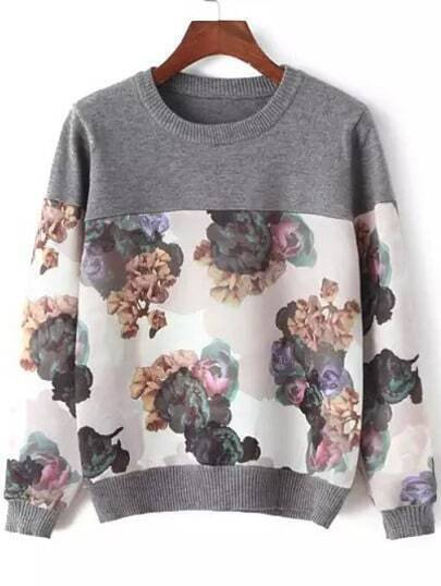 Grey Round Neck Ink Floral Knitwear