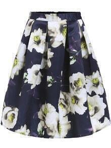 Navy High Waist Floral Flare Skirt