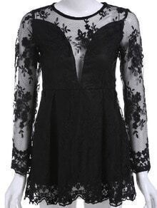 Black Round Neck Sheer Mesh Lace Top
